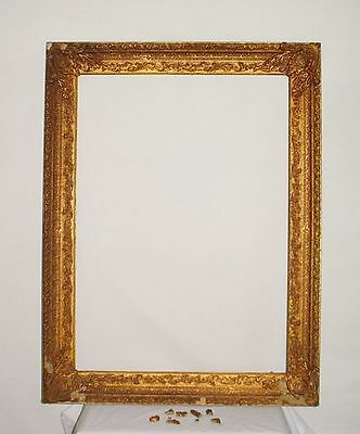 Antique Gesso Ornate Gold Gilt Wood Louis XV Large Picture Frame French Rococo