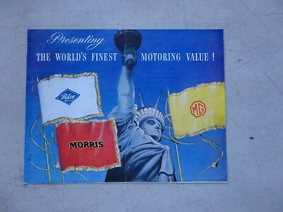 1952 Morris, MG, Riley fold out full line COLOR SALES BROCHURE Motoring Value