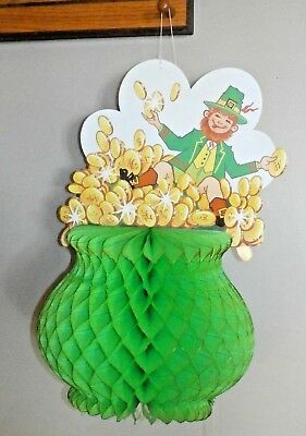 "Vintage Leprechaun Die Cut HONEYCOMB POT OF GOLD St. Patrick's Day New 23"" High"
