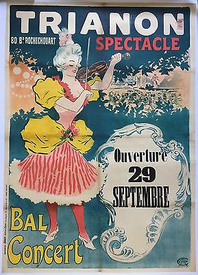 Affiche ancienne TRIANON SPECTACLE Rochechouart Bal Concert GEORGES MEUNIER 1897