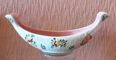 Arthur Wood Long Vase with Bright Floral Clusters and Pink Interior.