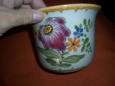 Vintage Beautiful Signed Gouda Pottery Vase Very Colorful Flower Design
