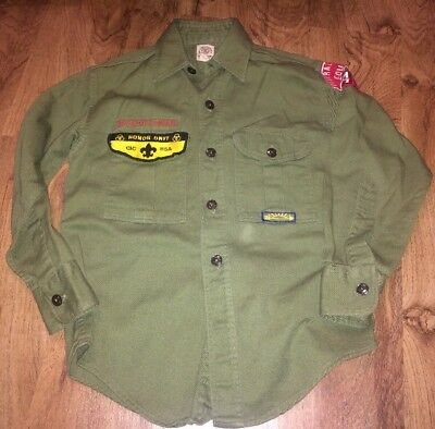 Vintage Boy Scouts of America UNIFORM Shirt Long Sleeve BSA some patches