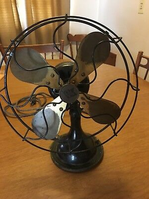 Vintage Robbins & Myers Brass Blade Oscillating Electric Fan Cast Iron Pedestal