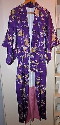 Vintage Japanese Purple  Floral Silk Kimono Great Condition