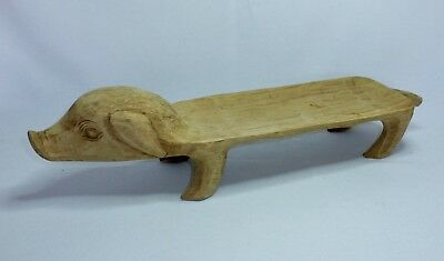 Vintage Hand Carved Long Wooden Pig Platter Tray Made In Philippines 20 Rare