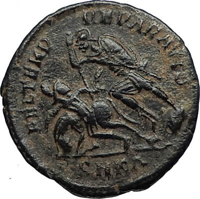 CONSTANTIUS II 355AD Cyzicus Authentic Ancient Roman Coin w BATTLE SCENE i67097