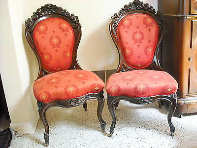 Pr. Victorian  ROSEWOOD Belter Laminated Rosalie w/grapes chairs