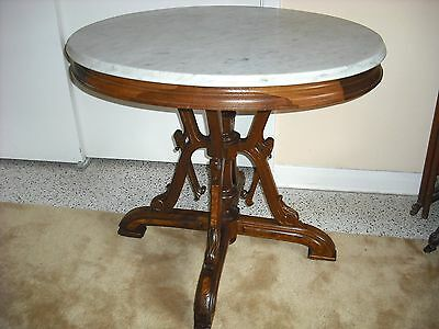 Victorian Walnut Ren. Rev/Neo Grec oval Marble top gilded table