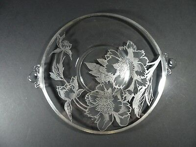 """Vintage Silver Overlay Glass Cake Plate with Handles Rockwell Peony 10½"""""""