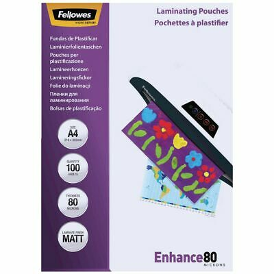 Fellowes Laminating Pouches A3 80 Micron Matte 100 Pack