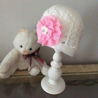 WHITE SHELL BABY GIRLS CROCHET BEANIE with pink flower 6 to 9 months Made in WA