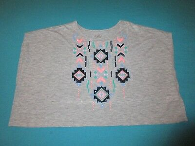 JUSTICE Girls Gray Aztec Shirt Size 10