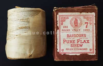 antique BARBOUR'S PURE FLAX SINEW 7 Cord 1 pound lock stitch machines NIB ecru