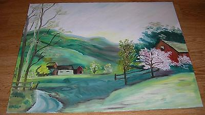 Vintage Spring Blossoms Garden Tree Folk Art House Green Landscape Farm Painting