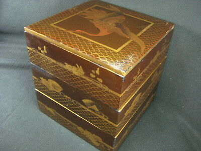 Japanese Antique Jyubako Three-Layer Stacking Food Boxes Lacquer Flying Crane