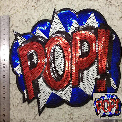 Embroidered iron on patches sequins POP sequins clothing DIY Motif Applique WL