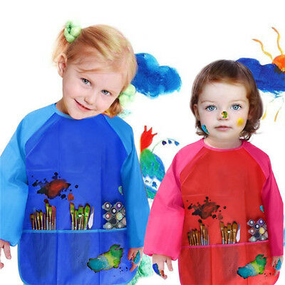 Children Kids Art Craft Apron For Painting Waterproof Smock Sleeve With Pockets