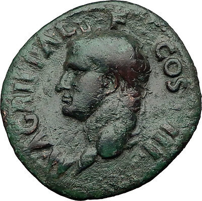 Marcus Vipsanius Agrippa Augustus General Ancient Roman Coin by CALIGULA i60656