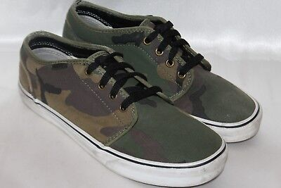 8fe0bd18dc6e VANS MENS GREEN Brown Army Canvas Lace Up Deck Sneakers Shoes Sz 8 ...