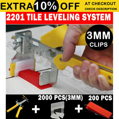 Tile Leveling System 2000 3mm Clips+200 Wedges+1 Plier Floor Tiling Spacer Kit