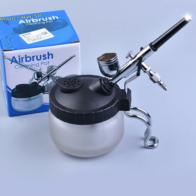 New Airbrush Cleaner Pot Glass Air Brush Holder Cleaning Paint Jar Bottle AU
