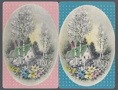 Swap Playing Vintage Card Cottages  Blue and Pink Oval