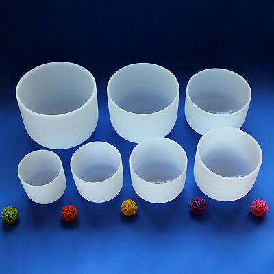 Chakra set of 7 pcs white frosted quartz crystal singing bowl 6in.-12in.