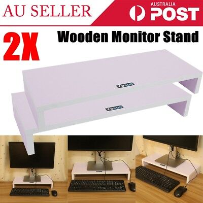2PCS Wooden Monitor Stand LCD Computer Monitor Riser Display Bracket AU STOCK