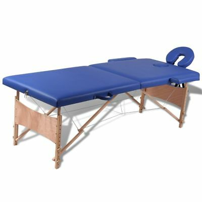 vidaXL Wooden Portable Massage Table 2 Fold Beauty Therapy Bed Waxing 68cm Blue