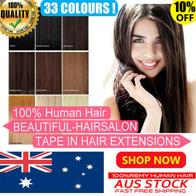 """16""""-22"""" 6A Premium TAPE IN 100% Remy Human Hair Extensions Seamless Skin Weft AU"""