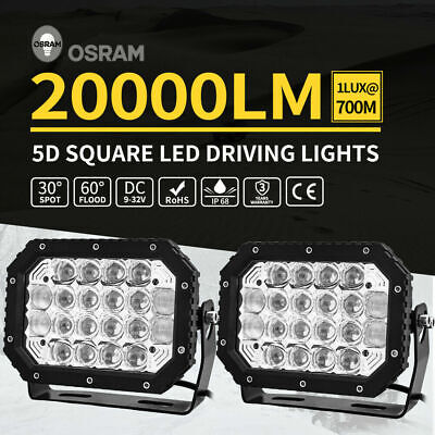 2X 7inch 5D Square LED Driving Light Bar Spot Flood Combo Offroad Boat Truck SUV