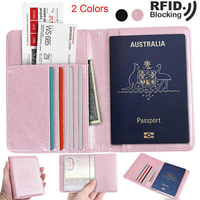 Leather RFID Blocking Anti Scan Travel Passport Credit Card Wallet Holder Pouch