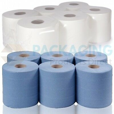 2Ply Blue And White Rolls Embossed Centre Feed Paper Wipe Towel Tissue Low Price