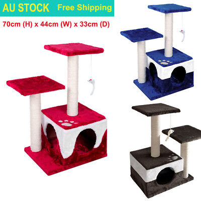70CM Tall Cat Scratching Post Tree Scratcher Pole Gym Play House Condo Furniture
