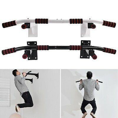 Wall Mounted Chin Ups Pull Up Bar Gym Home Workout Door Iron Bracket 2 Colours