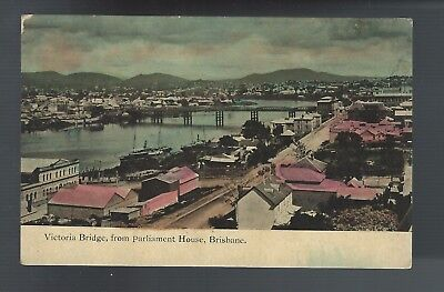 Vintage Postcard Victoria Bridge, from Parliament House, Brisbane, Record Series
