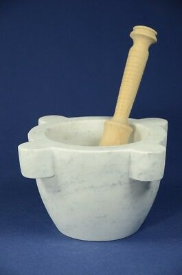 "Mortaio marmo Carrara ""Marsigliese"" 22 cm pestello legno.Marble mortar & pestle"