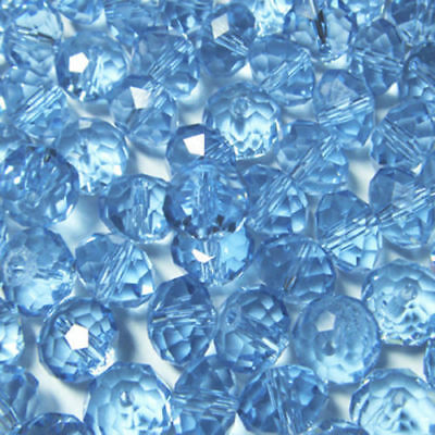 Diy Jewelry 70pc 6*8mm Faceted Rondelle glass crystal Beads Light blue