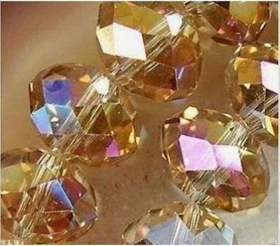 Diy Jewelry 70pc 6*8mm Faceted Rondelle glass crystal Beads Gold champagne AB