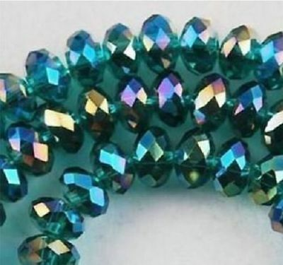Diy Jewelry 70pc 6*8mm Faceted Rondelle glass crystal Beads Peacock green AB