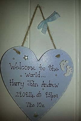 personalised new baby boy gift/new baby girl gift sign plaque christening gift