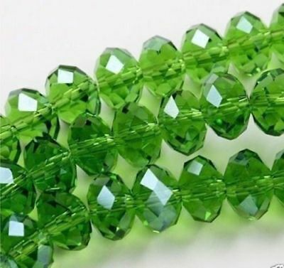 Diy Jewelry 70pc 6*8mm Faceted Rondelle glass crystal Beads green
