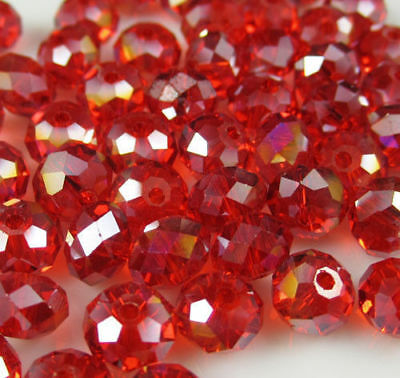 Diy Jewelry 70pc 6*8mm Faceted Rondelle glass crystal Beads red AB