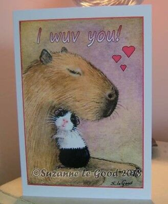 Guinea Pig and Capybara art Valentines card original painting Suzanne Le Good.