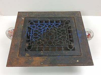 Vintage Decorative Metal 8 x 10 Floor Register Grate w/ Louvers and Trim Plate