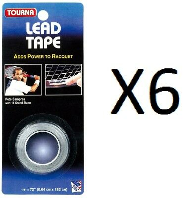 "Tourna Lead Tape Tennis Racquet Racket Tape Golf Club 1/4"" by 72"" (6-Pack)"