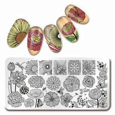 Nail Art Rectangle Stamping Template Flower Butterfly Manicure Image Plate