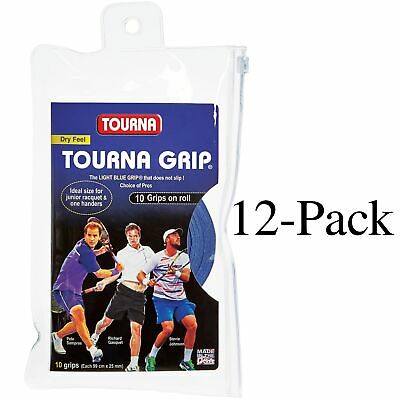 Tourna Tennis Racquet Over Grip 10 Overgrips Absorbent Dry Feel Blue (12-Pack)