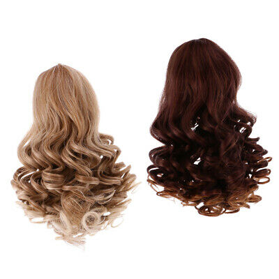 2 Wavy Curly Hair Wig for 18'' American Girl Doll DIY Making ACCES Gradient